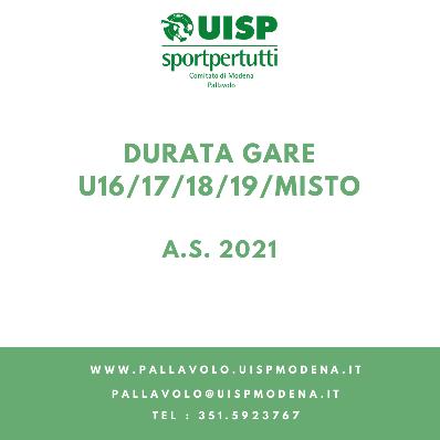 Modifica Durata Gare 2021 - Cat. U15/16/17/18/19/Misto