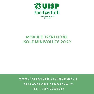 Modulo Iscrizione Isole Minivolley - 2022