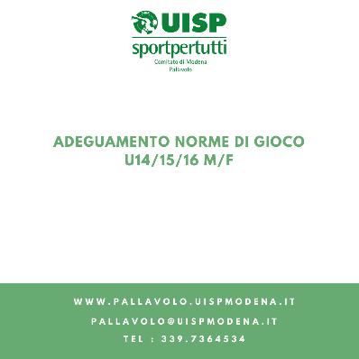 Adeguamento Norme di Gioco - U14/15/16 M/F