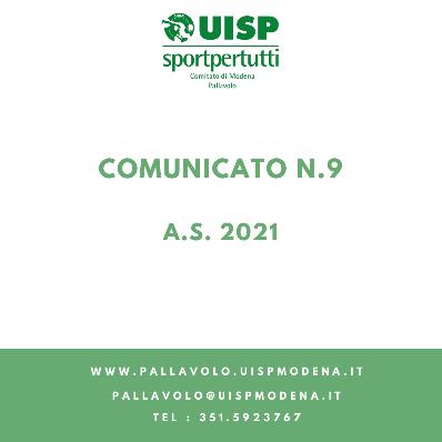 Comunicato N.9 - 2021