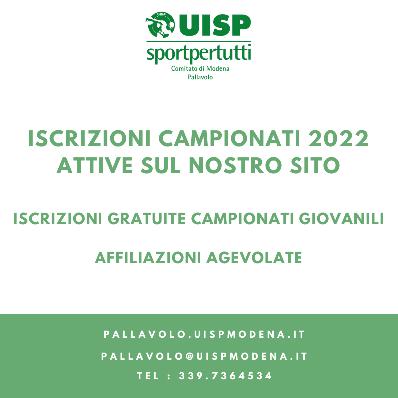 Iscrizioni Campionati 2022 Aperte