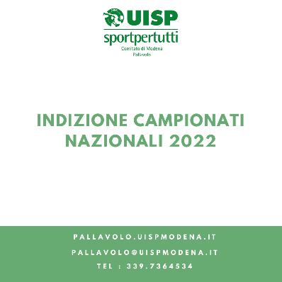 Indizione Campionati Nazionali 2022 - Online